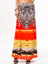 Bohemian Thailand Print Long Red Skirt - sparshine