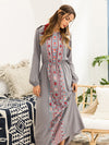 New Printed Waist Long Sleeve Dress