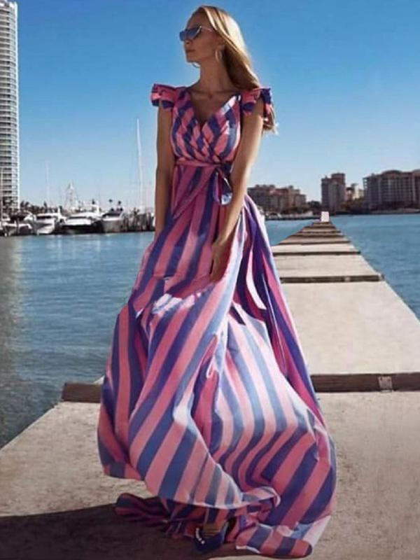 Cape Sleeves Striped Belted Maxi Dress - sparshine