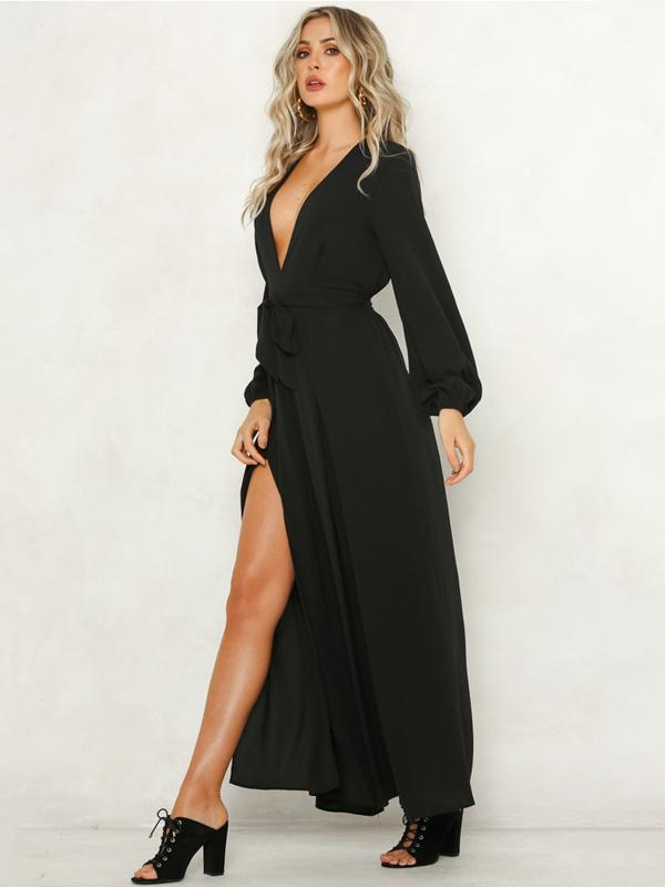 Solid Color V-neck Wide Leg Long Sleeves Jumpsuits Bottoms