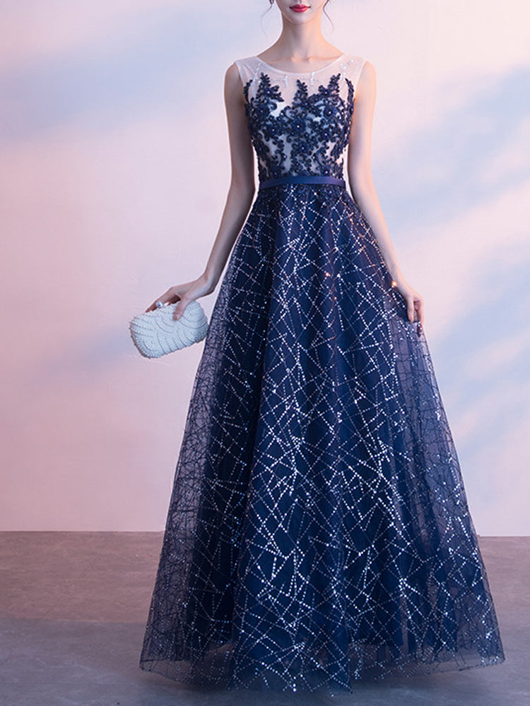 One-shoulder long starry fromal dress
