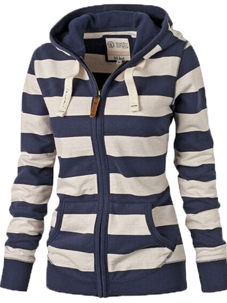 Casual striped stitching hoodie