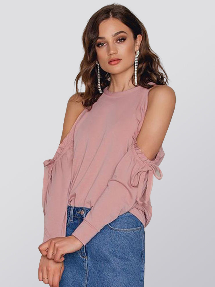 Fashion Sweet Sexy Off-the-shoulder Pleated Drawstring Tie with Solid Color T-shirt