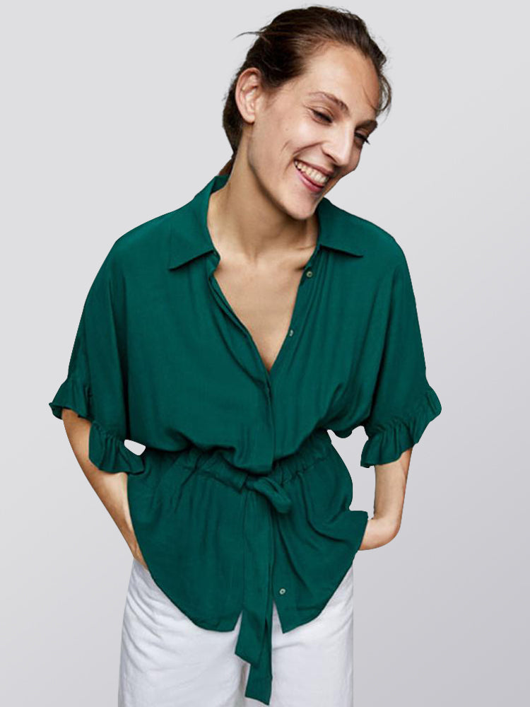 Bow Lapel Five-point Sleeve Loose Shirt Female