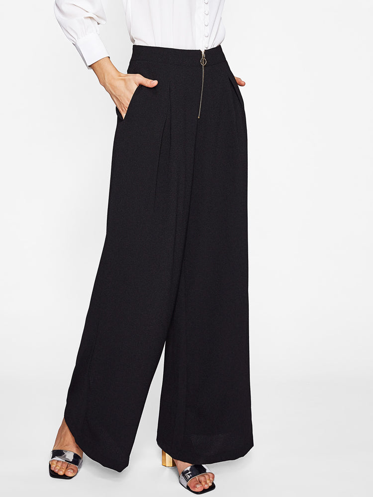Exposed Zip Front Fold Pleat Palazzo Long Pants - sparshine