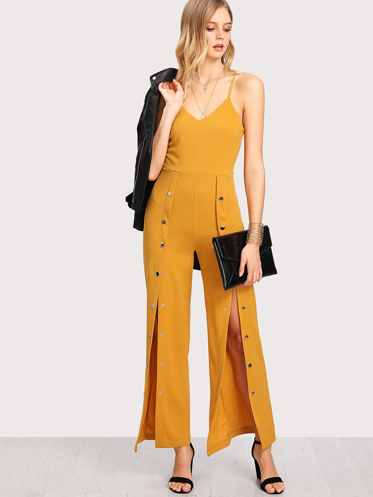 Trendy Yellow Suspenders Sexy Long Jumpsuit