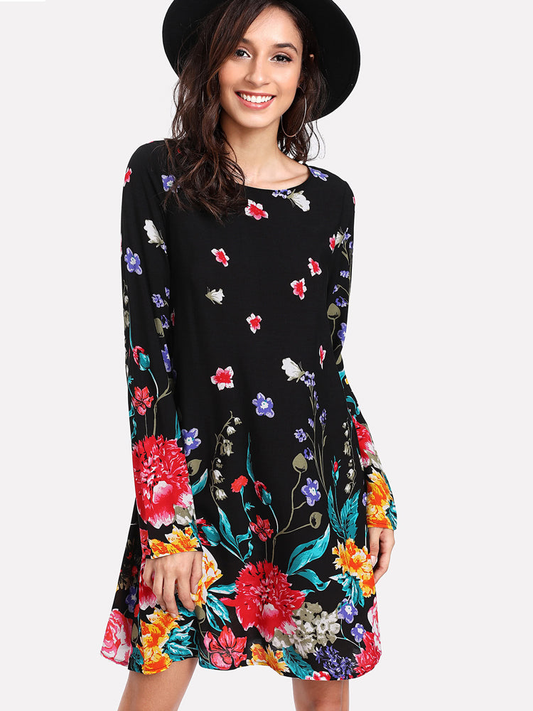 Elegant Flower Print Long Sleeve Tunic Long Sleeve Dress