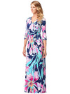 V Neck Floral Printed Mid Sleeve Long Dress