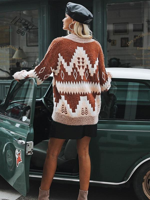 Fashion V Neck Knitting Loose Sweater Tops - sparshine