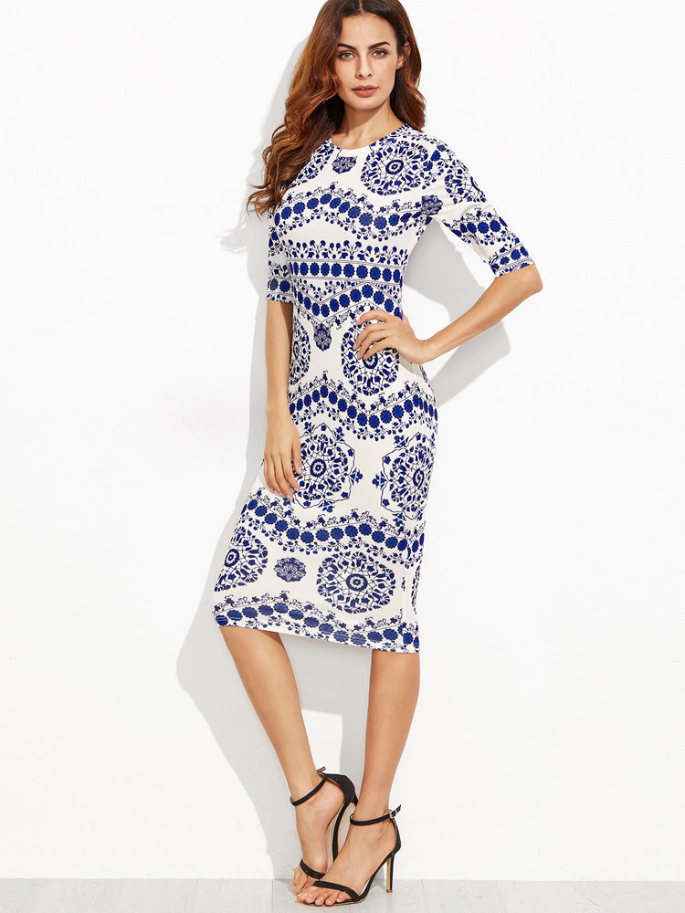 Fashion women Porcelain Print Pencil Dress