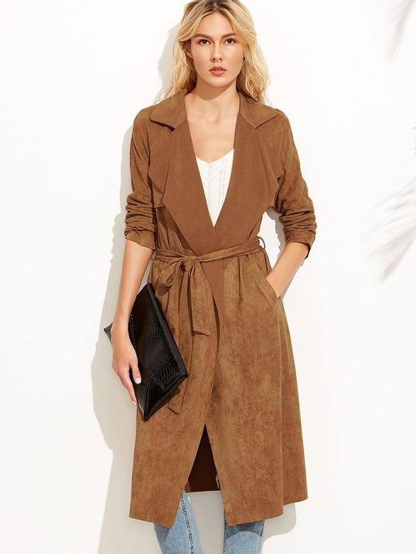 Trendy clothes for women Self tie duster trench coat