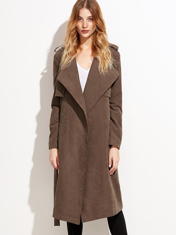 Trendy clothes for women Suede layered wrap trench coat