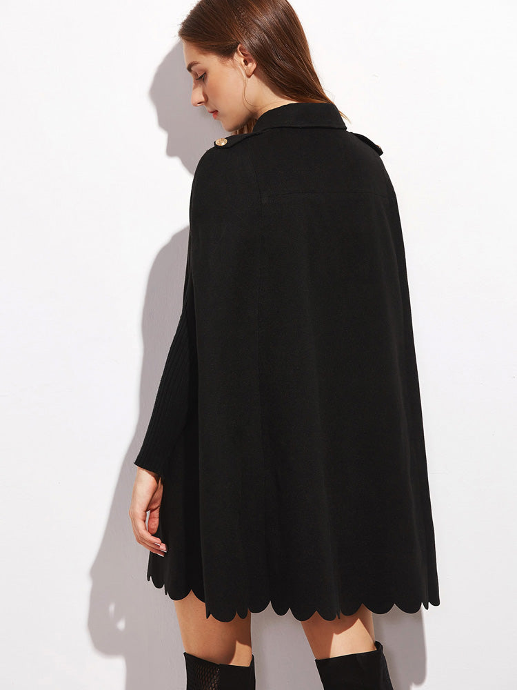 Elegant women's clothing Scallop edge cape coat