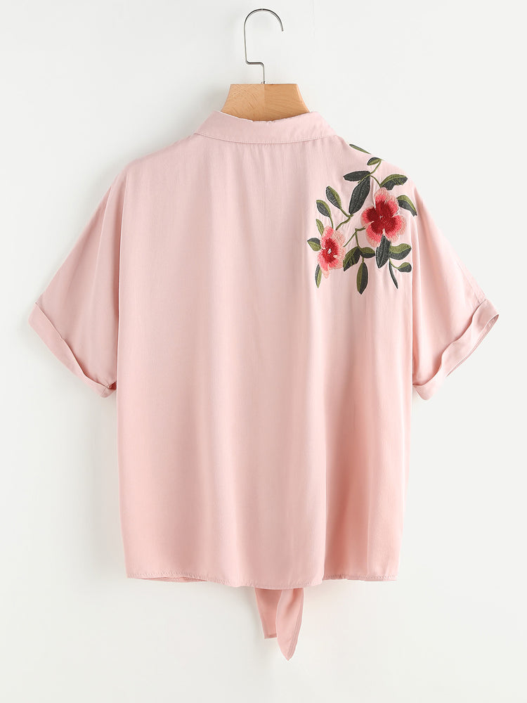 Fancy Tie Front Cuffed Sleeve Embroidered Blouse