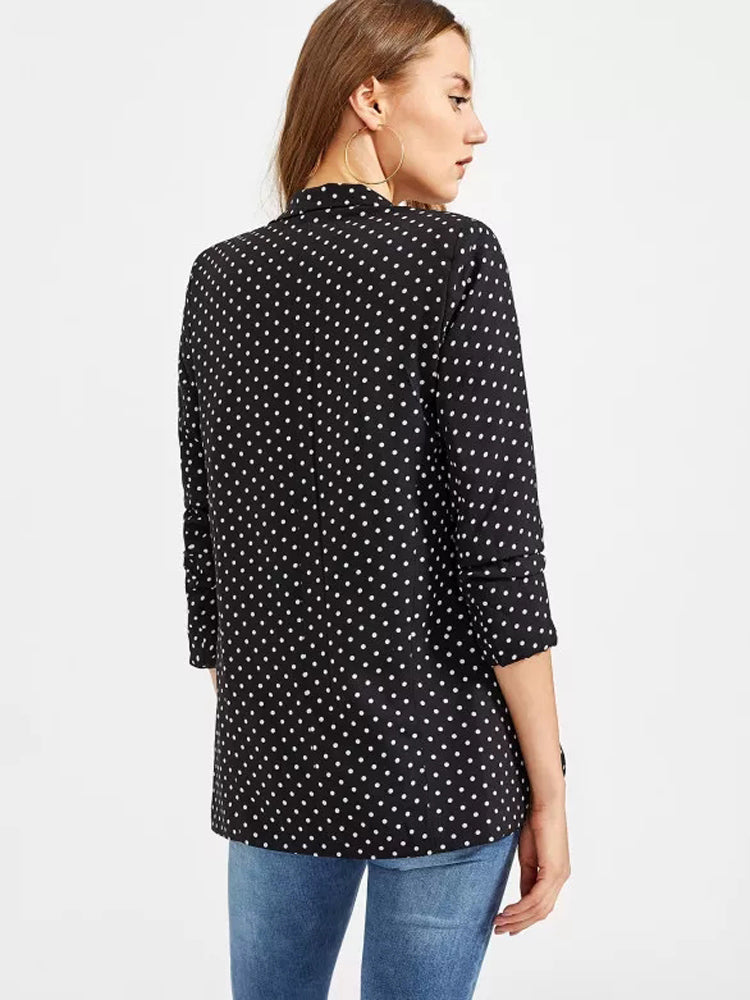 Elegant women's  Polka Dot Open Front Coat