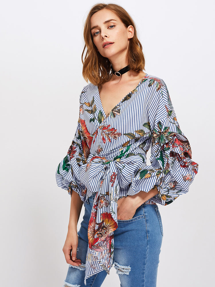Bow Belted Front Exaggerated Lantern Sleeve Striped Top - sparshine