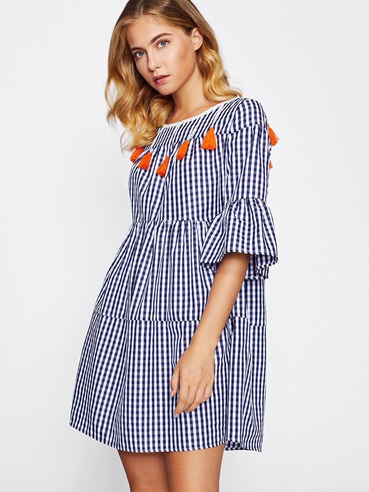 2018 New Tassel Tied Open Back Tiered Gingham Day Dress