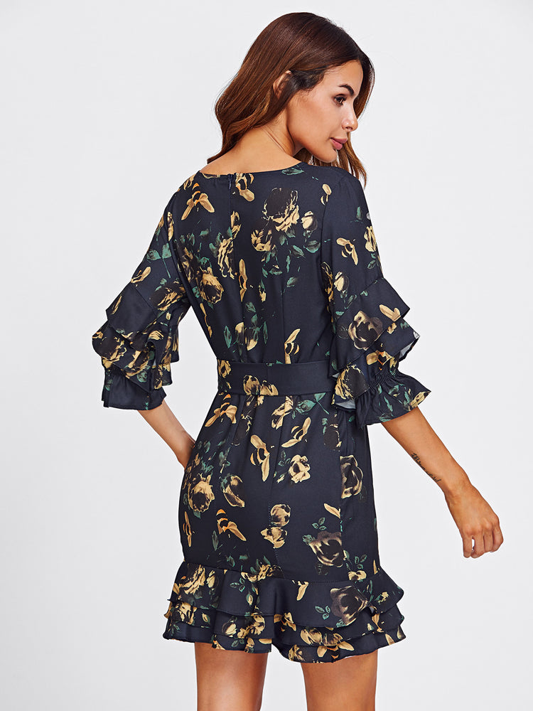 2018 New Printed Dresses Layered Frill Detail Sleeve Day Dress