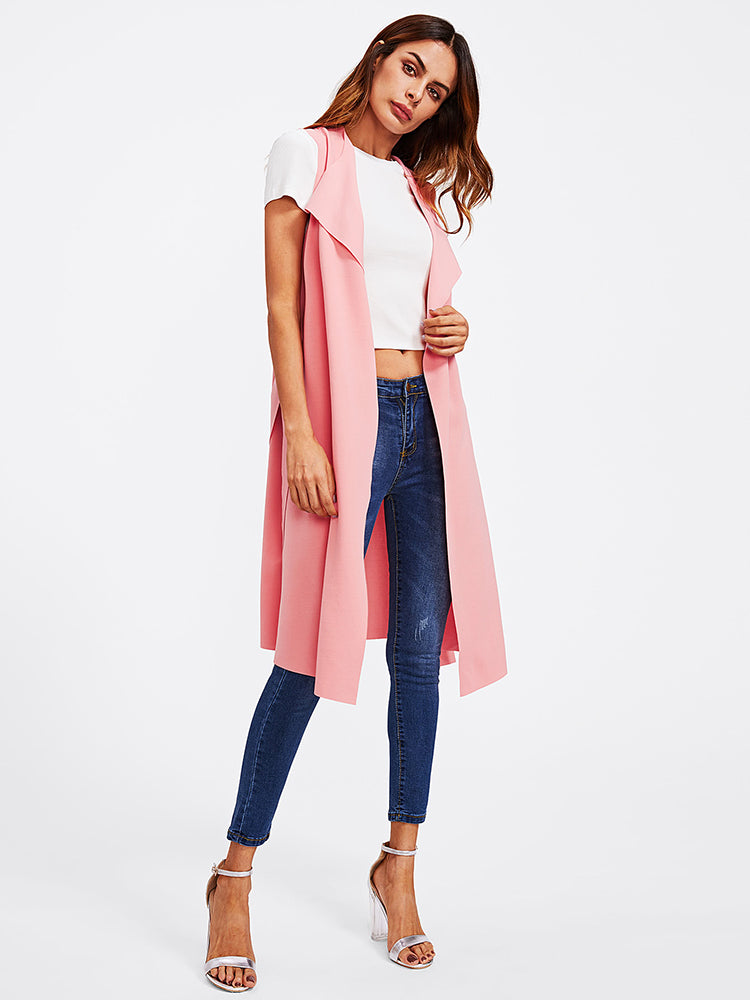 Trendy Clothes For Women Bow Tie Waist Longline Belted Trench Vest