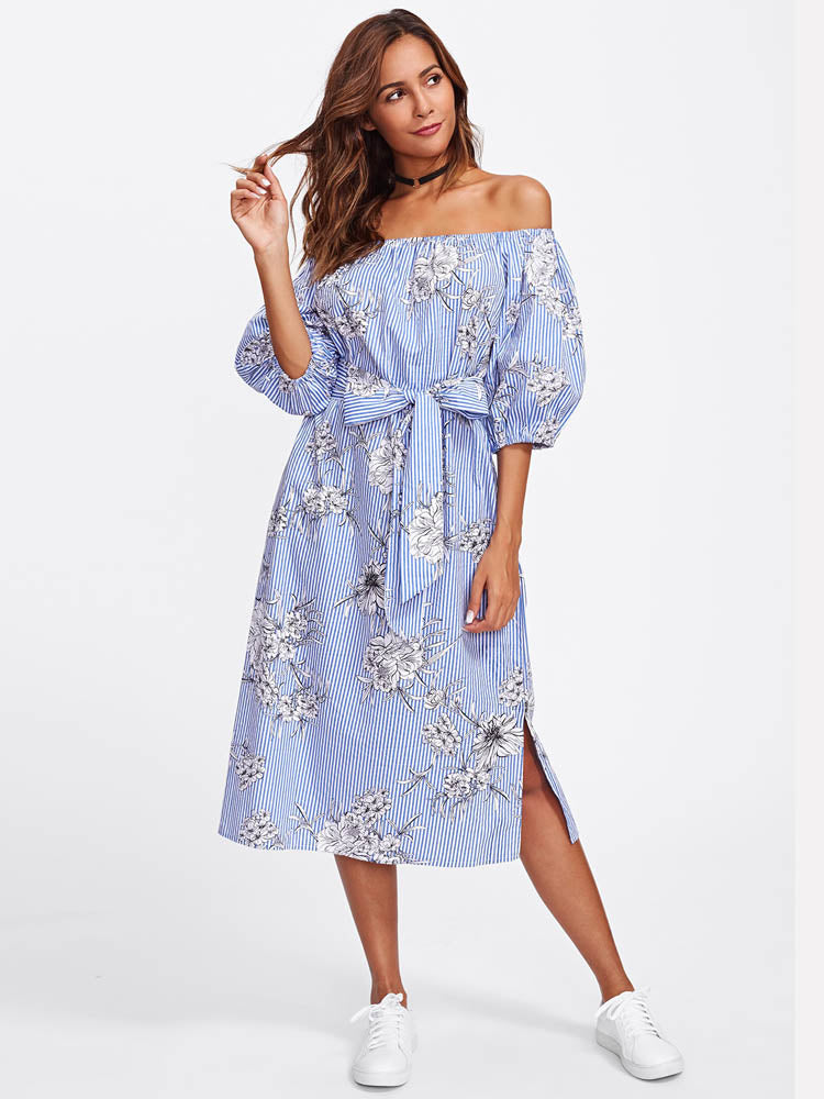 Elegant Floral And Striped Bardot Off the Shoulder Maxi Dress