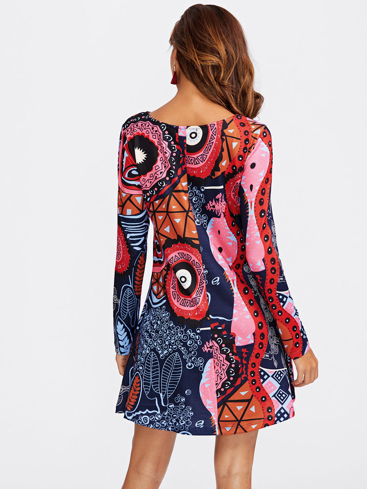 Trendy Graffiti Print A Line Long Sleeve Dresses