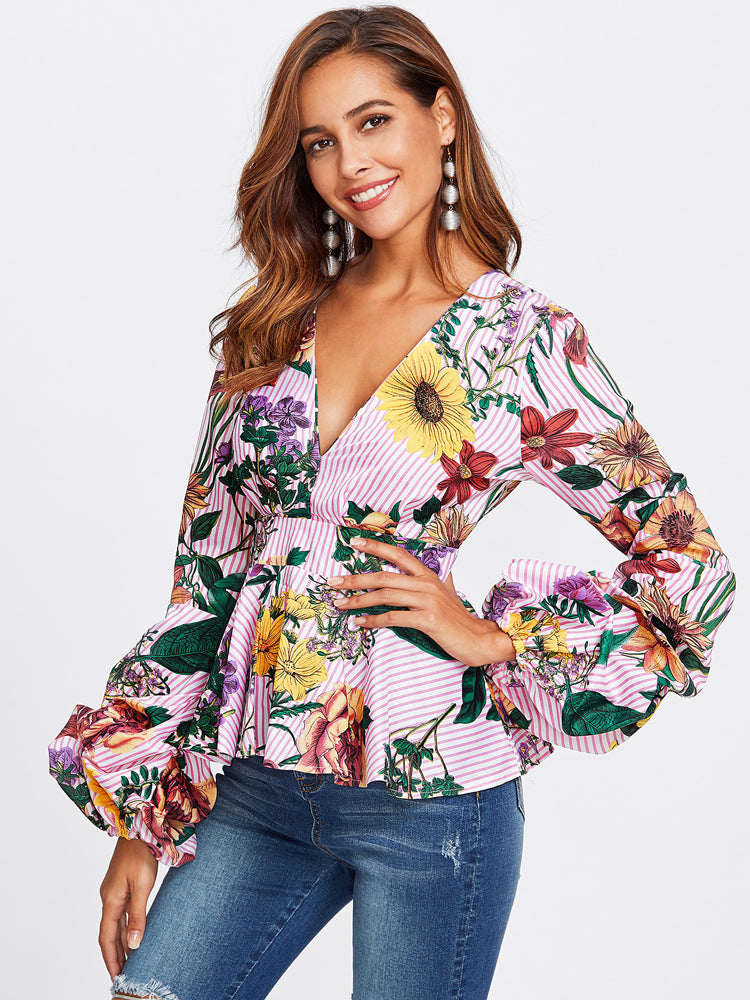 Mixed Floral Print V-neck Blouse