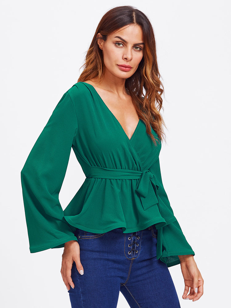 High Quality V Neck Belted Embellished Peplum Blouse