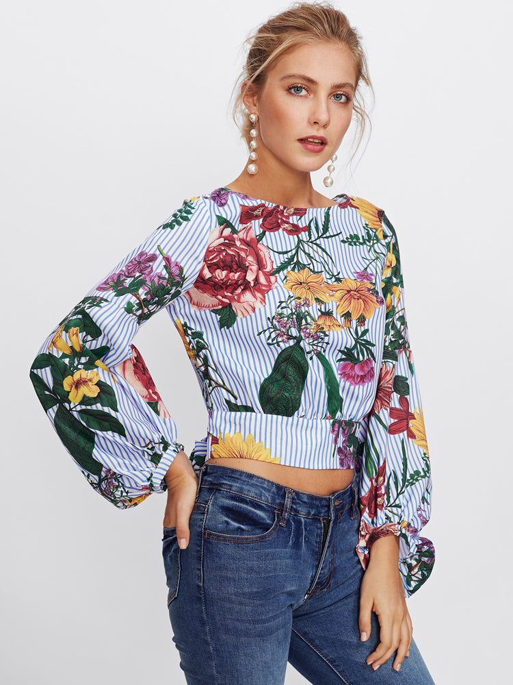 Bishop Sleeve Tie Back Mixed Print Tops - sparshine