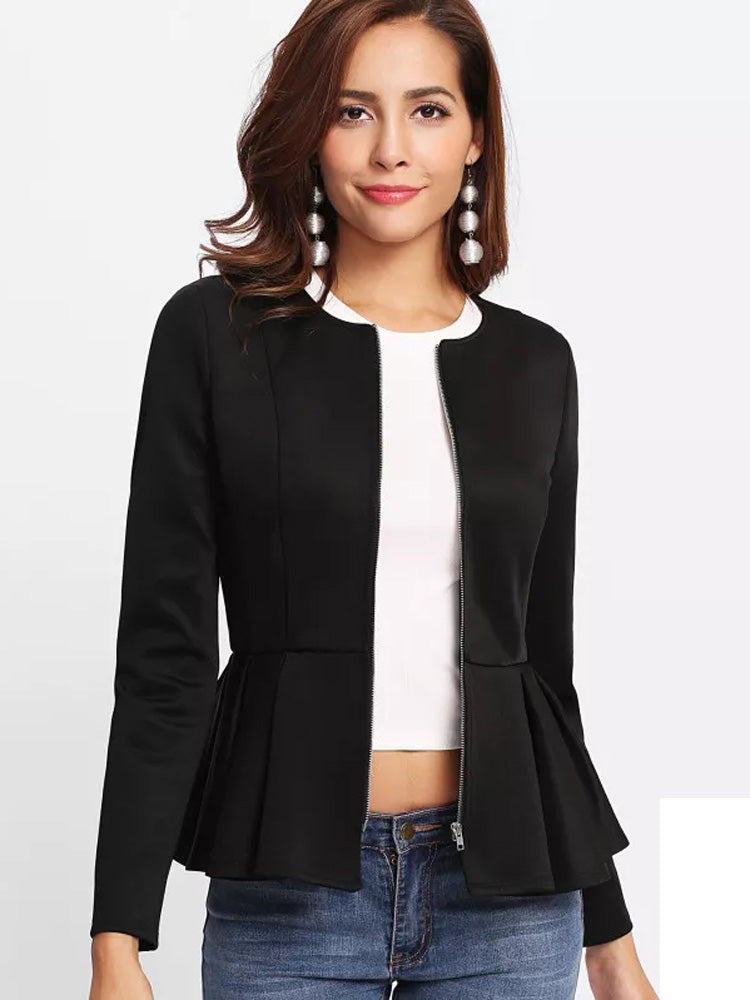 Trendy  Zip Up Box Pleated Peplum Jacket