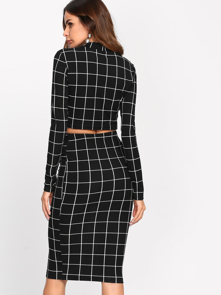 Fashion women's plaid tight two pieces dress
