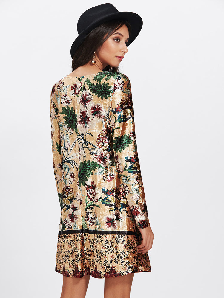 Trendy Floral Print Round Neck Dresses Mixed Long Sleeve Dress