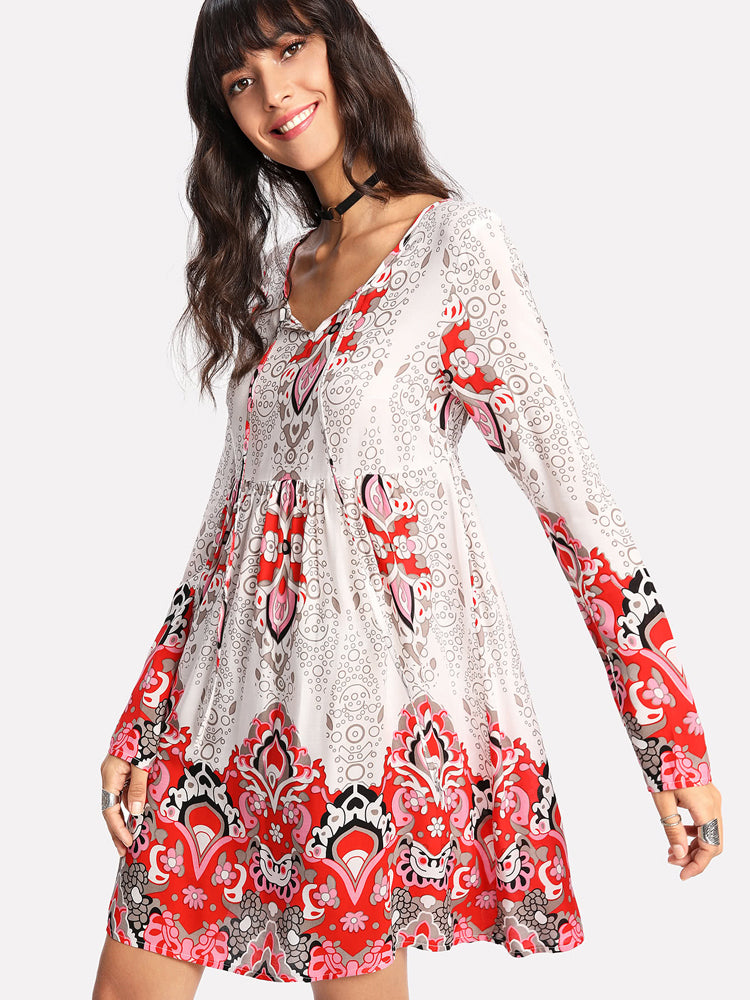Fashion Floral Print Long Sleeve Dress