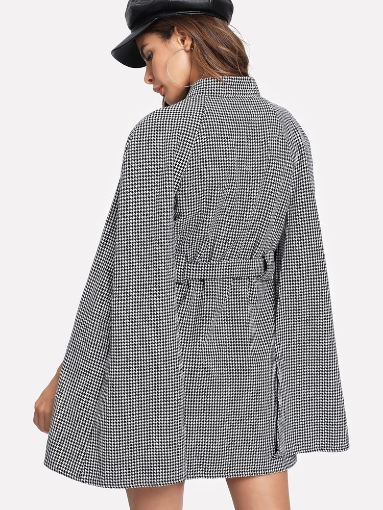 Elegant women's Self Belted Houndstooth Cape