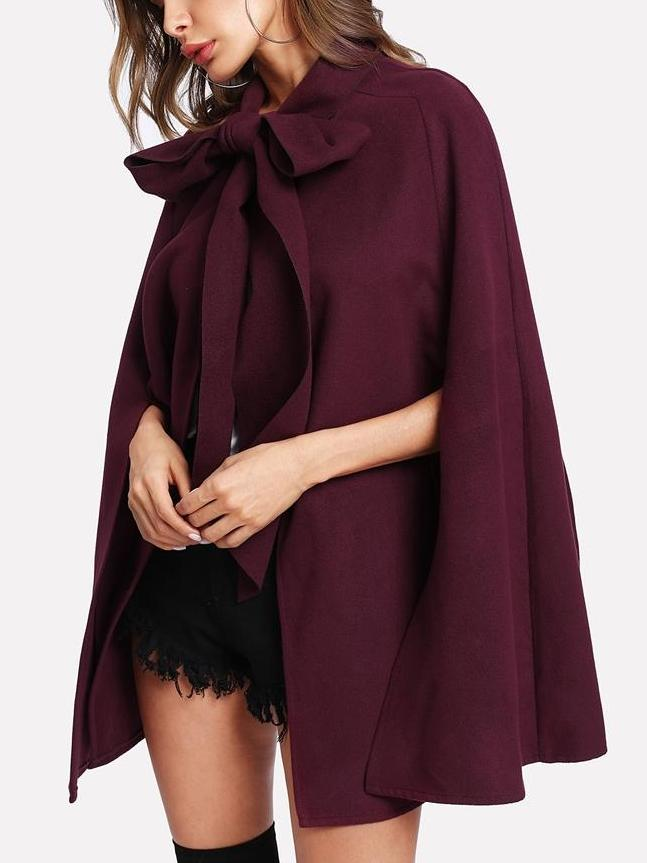 Elegant women's clothing slit back tied front cape coat