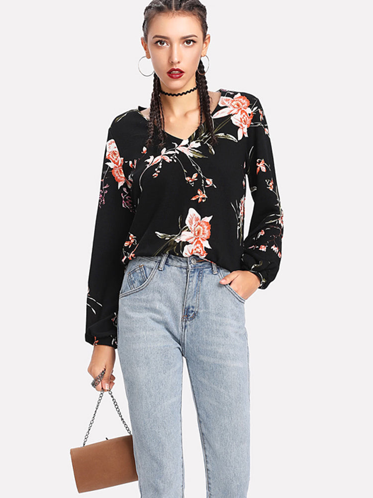 2018 New Flower Print Tunic V Neck Blouse