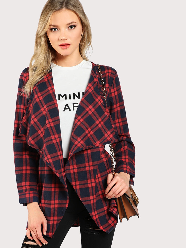 Elegant women's waterfall collar checked coat
