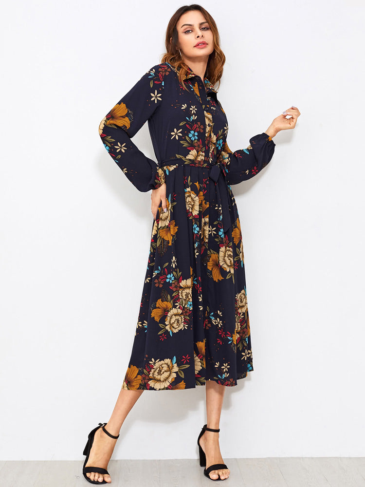 Self Tie Fit Flare Floral Shirt Dress