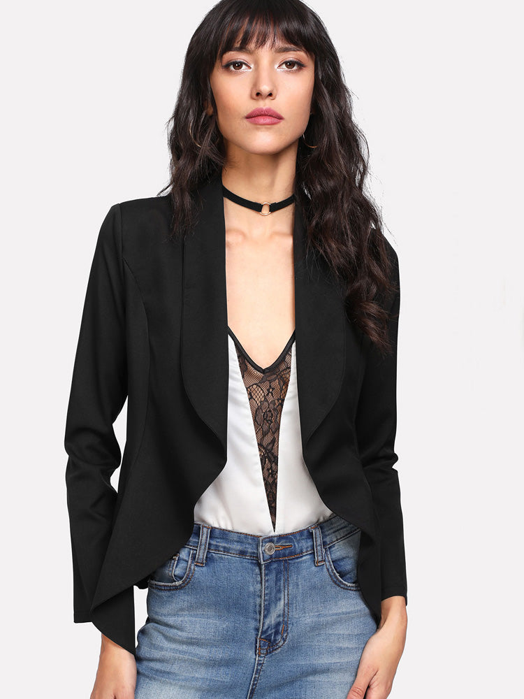 Elegant women Shawl Collar Open Front Blazer