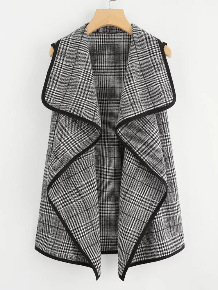 Trendy  Contrast Binding  Check Waterfall Coat