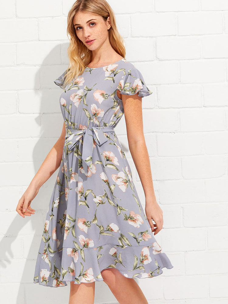 2018 New Flutter Sleeve Ruffle Hem Calico Print Belt Day Dresses