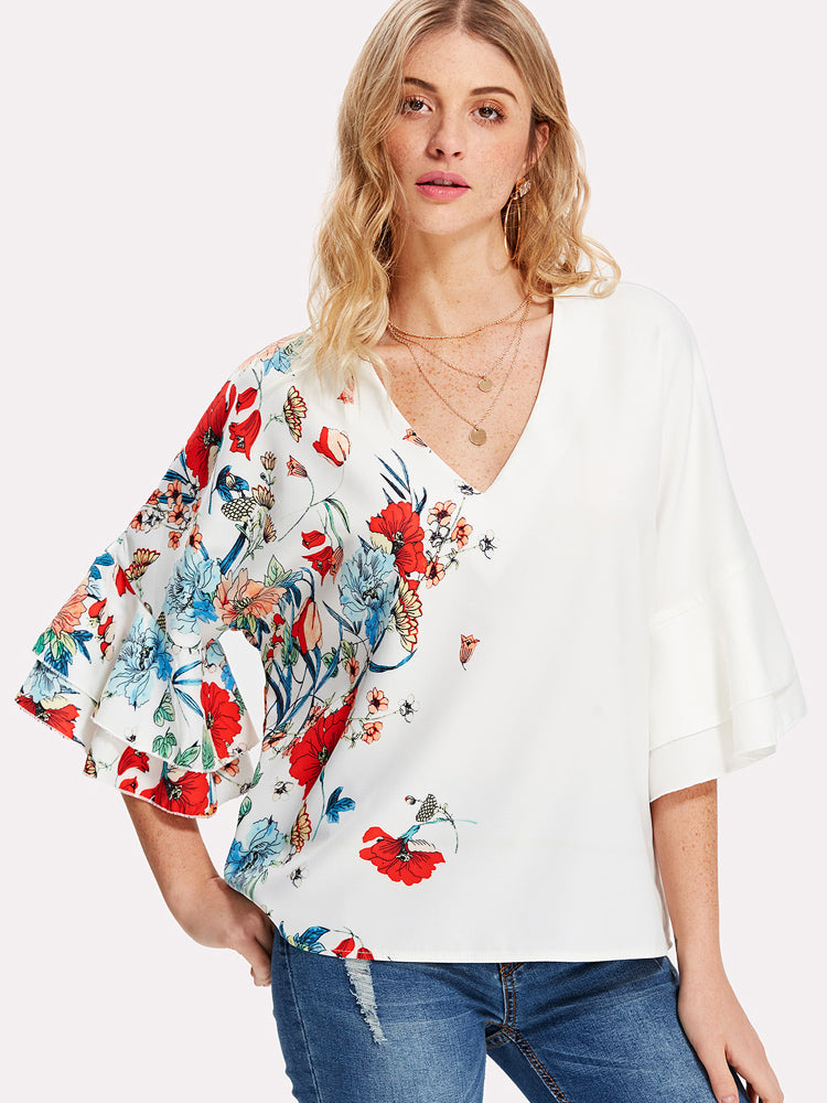 2018 New Layered Trumpet Sleeve Botanical Top Floral Print Blouse