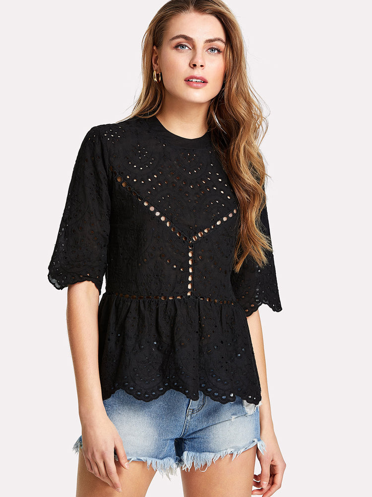 Fashion Round Neck Ruffle Hem Hollow Blouse