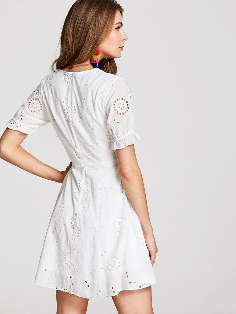 Fashion Ruffle Cuff Eyelet Embroidered V-neck  Day Dress