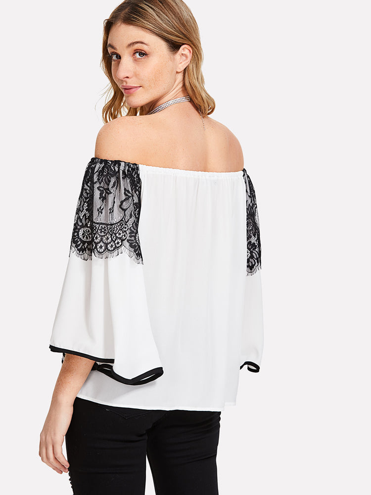 Trendy Lace Detail Contrast Binding Bardot Blouse