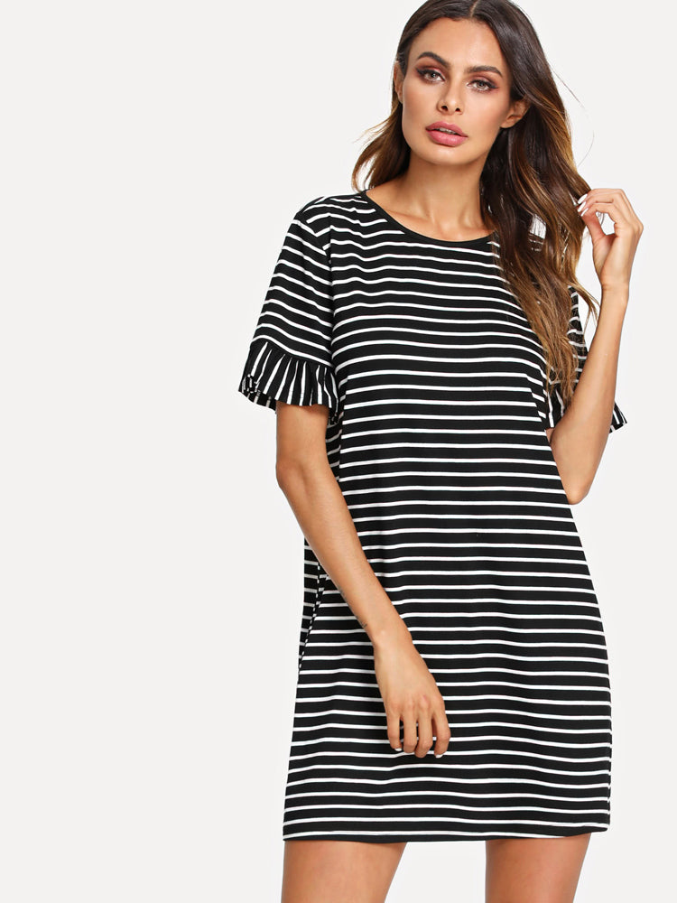 Trendy Stripe Loose Dress Women Summer O-neck Day Dresses