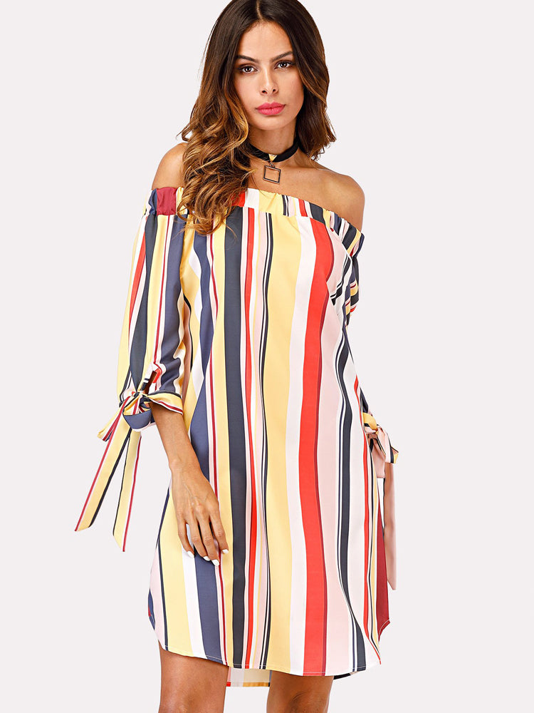 Trendy Off Shoulder Striped Knot Day Dress