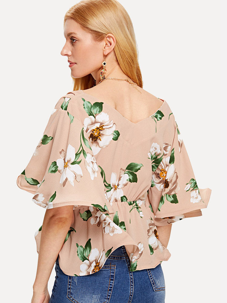 Elegant Floral Blouse Self Tie V Neck Blouse