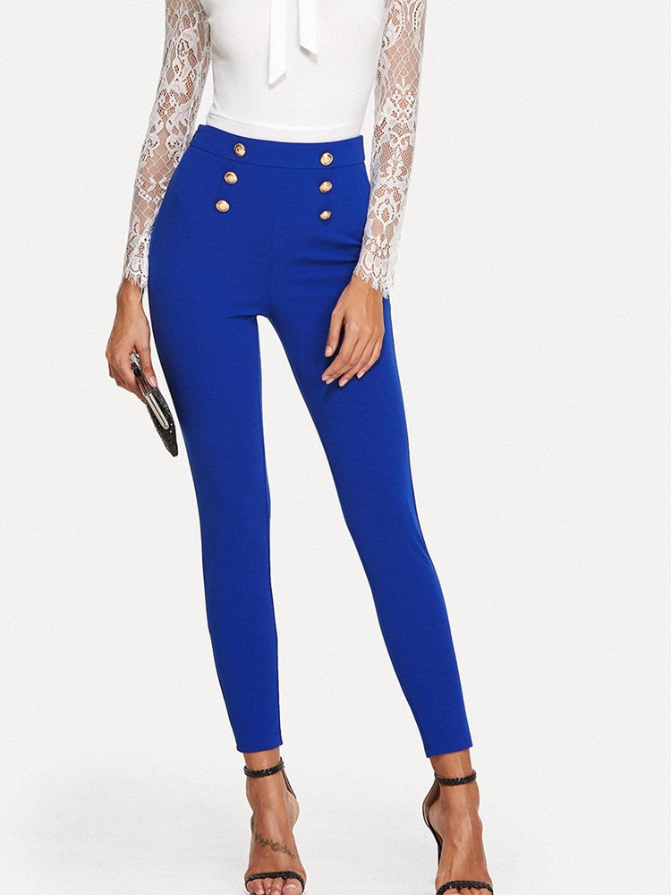 Fashion women's button embellished skinny pants