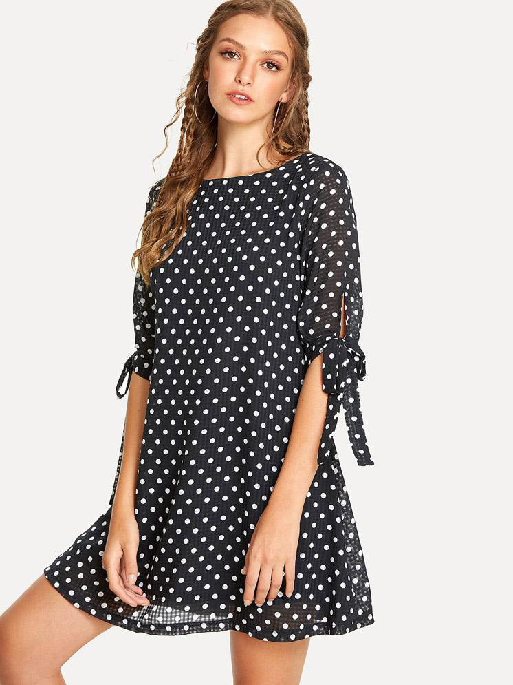 Black Loose O-neck Polka Dot Dresses - sparshine