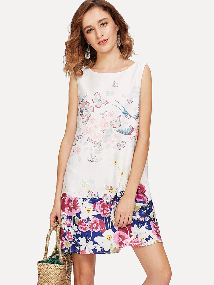 High Quality Floral Print Sleeveless Day Dress